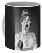 Woman In Bell Hop Outfit Calling Out Coffee Mug