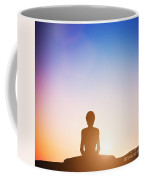Woman In Bound Angle Yoga Pose Meditating At Sunset Coffee Mug