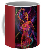 Woman In Colorful Body Paint With Light Streaks Coffee Mug