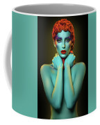 Woman In Cyan Body Paint With Curly Hairstyle Coffee Mug