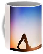 Woman In Dolphin Yoga Pose Meditating At Sunset Coffee Mug