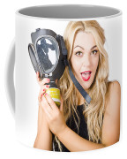 Woman In Fear Holding Gas Mask On White Background Coffee Mug by Jorgo Photography - Wall Art Gallery