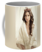 Woman In Fur Wrap Wearing Crown Coffee Mug