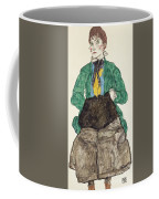 Woman In Green Blouse With Muff Coffee Mug