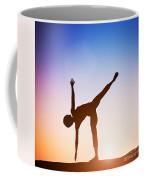 Woman In Half Moon Yoga Pose Meditating At Sunset Coffee Mug