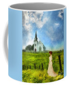 Woman In Lace By A Country Church Coffee Mug
