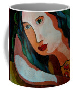 Woman In Orange And Blue Coffee Mug