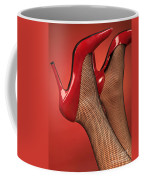 Woman In Red High Heel Shoes Coffee Mug