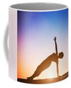 Woman In Side Balance Yoga Meditating At Sunset Coffee Mug