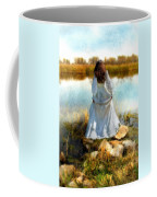 Woman In Victorian Dress By Water Coffee Mug