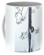 Woman In White Dress Hugging A Tree Coffee Mug