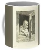 Woman Leaning On Arms In Window Opening Coffee Mug