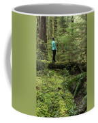 Woman On A Moss Covered Log In Olympic National Park Coffee Mug