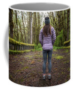 Woman On An Old Moss Covered Bridge In Olympic National Park Coffee Mug