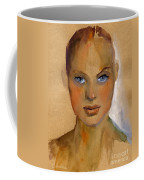 Woman Portrait Sketch Coffee Mug by Svetlana Novikova