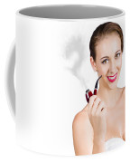 Woman Problem Solving With Pipe Coffee Mug