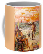 Woman Reading On The Beach Coffee Mug