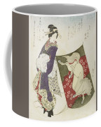 Woman Standing On The Rope Of A Kite Coffee Mug