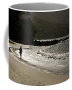 Woman Walking On A Deserted Beach Coffee Mug