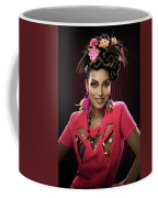 Woman With Floral Headdress In Pink Dress Coffee Mug