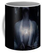 Woman With Glowing Full Moon Pendant On Her Chest Coffee Mug