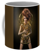 Woman With Messy Curl Updo In Golden Attire Coffee Mug
