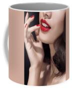 Woman With Red Lipstick Closeup Of Sensual Mouth Coffee Mug
