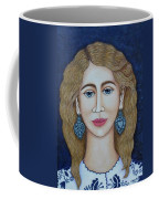 Woman With Silver Earrings Coffee Mug