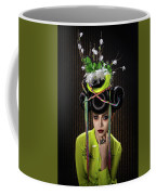 Woman With Yellow Dress With Feather And Leaf Headdress Coffee Mug