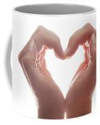 Woman's Hands Make A Heart Shape On White Background, Backlight. Love Coffee Mug