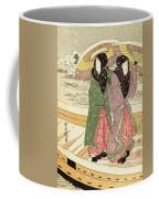 Women Walking Over A Bridge In Snow Coffee Mug