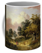 Wooded Landscape With Woman And Child Walking Down A Road  Coffee Mug