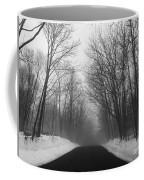 Wooded Winter Road Coffee Mug