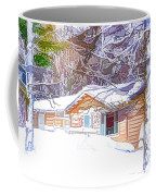 Wooden House In Winter Forest Coffee Mug