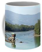 wooden house on rock Drina river Serbia Coffee Mug