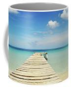 Wooden Pier On A Perfect Tropical Caribbean White Sand Beach Coffee Mug