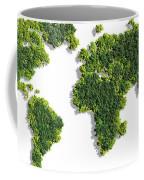 World Map Made Of Green Trees Coffee Mug