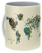 World Map Mandala Feathers 3 Coffee Mug