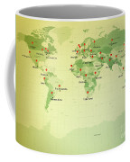 World Map Miller Cities Straight Pin Vintage Coffee Mug