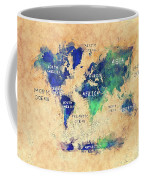 World Map Oceans And Continents Art Coffee Mug