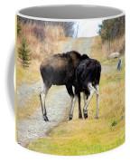 Amorous Moose Wrestling Coffee Mug
