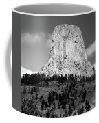 Wyoming Devils Tower National Monument With Climbers Bw Coffee Mug