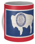Wyoming Rustic Flag On Wood Coffee Mug