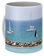 yacht sailing in the Mediterranean sea Coffee Mug