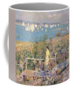 Yachts In Gloucester Harbor Coffee Mug by Childe Hassam