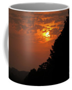Yellow And Orange Sunset With Tree Silhouette On Bottom And Right Coffee Mug