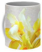 Yellow And White Iris Textured Coffee Mug
