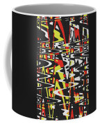 Yellow Black Red White Drawing Abstract Coffee Mug