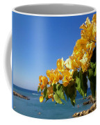 Yellow Bougainvillea Over The Mediterranean On The Island Of Cyprus Coffee Mug