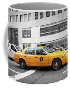 Yellow Cab In Manhattan With Black And White Background Coffee Mug